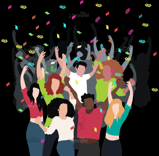 People Celebrating a dance party at night- Illustration.