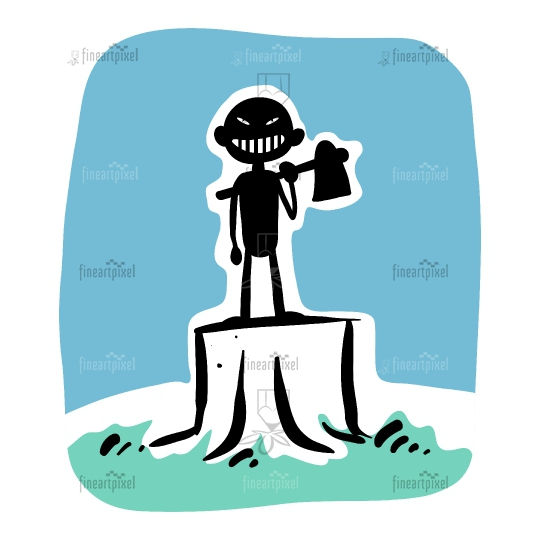 A man standing on a tree stump with axe illustration.