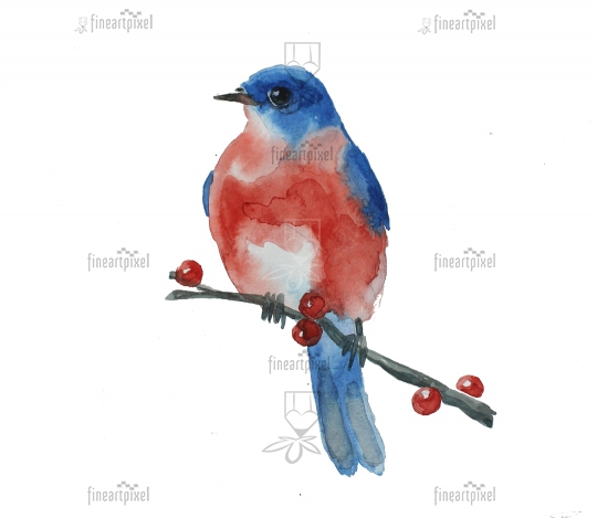 Bird sitting on branch water color painting