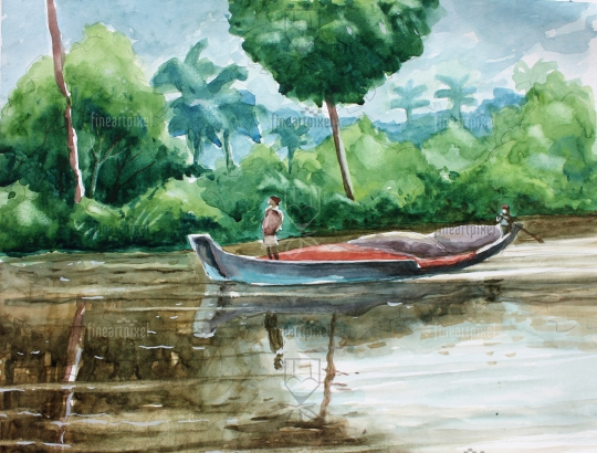Boat in the river water color painting