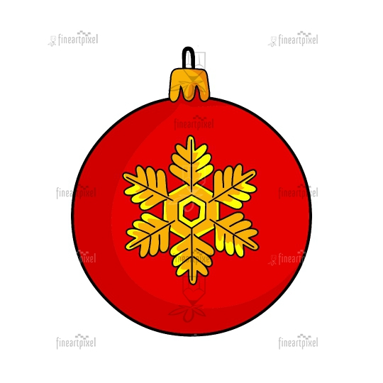 Christmas ball vector red isolated on white background
