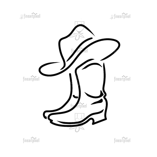 Cowboy boots and hat vector illustration