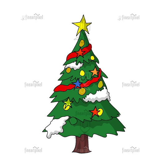 Decorated charismas tree vector isolated