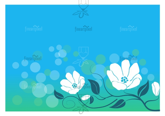 Floral frame background White flowers on blue background