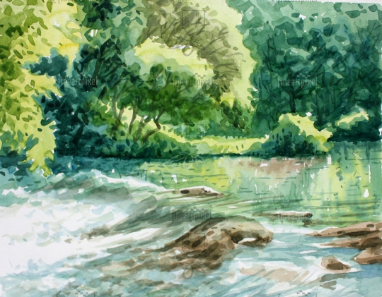 Flowing water in the forest water color painting