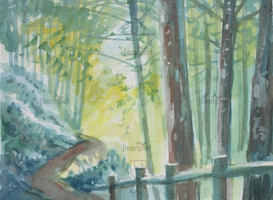 Forest trees water color background