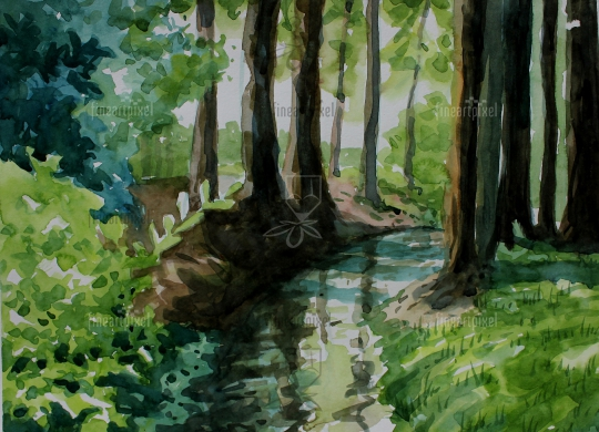 Forest trees water color painting