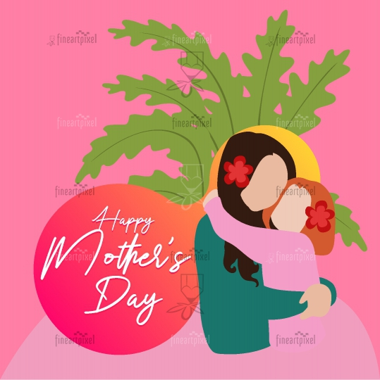 Happy Mothers Day, Cute mom and Kid Illustration.