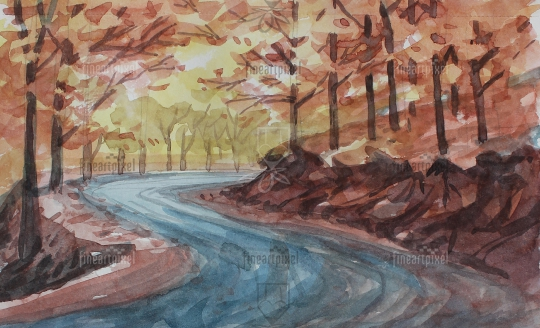 Roadside trees water color Background