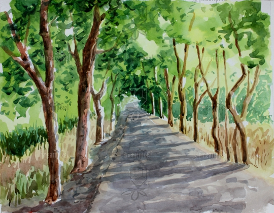 Roadside trees water color painting