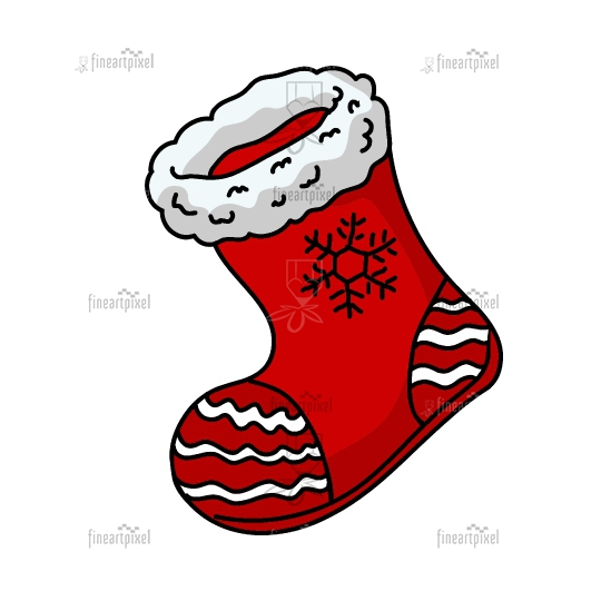 Santa red shoe Christmas illustration vector isolated