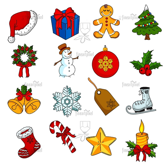 Set of Christmas icons vector isolated