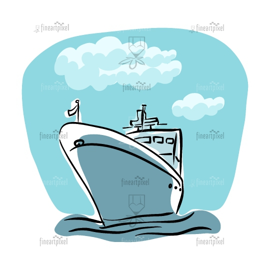 Ship and cloud illustration.