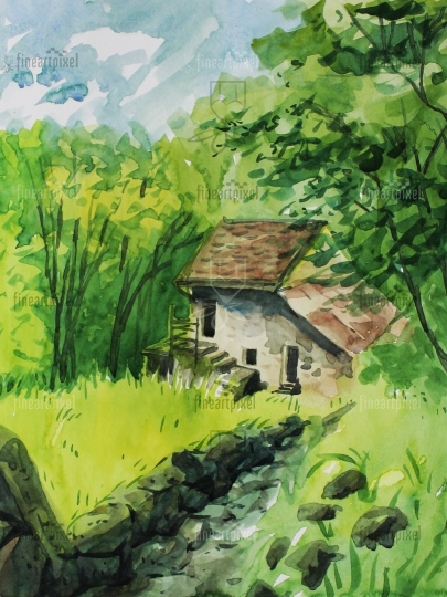 Small house and trees water color painting