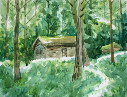 Small house in the forest water color background painting