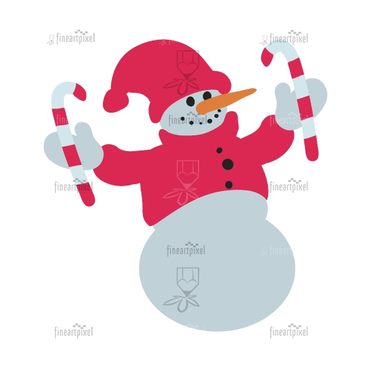 Snowman isolated in white background.