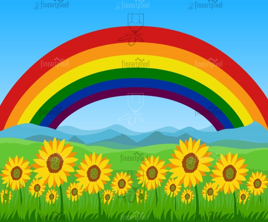 Summer field with yellow flowers Rainbow background bright sky
