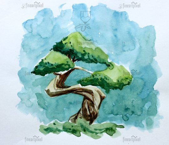 Tree water color painting