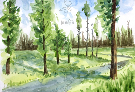Trees water color