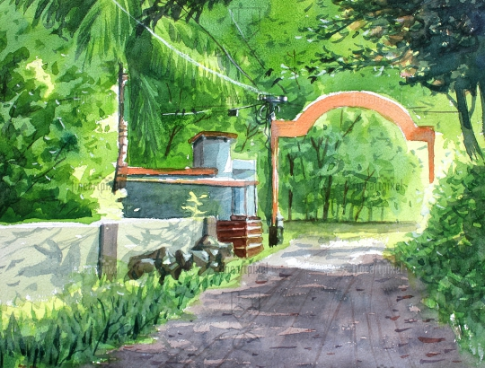 Village road and house water color painting