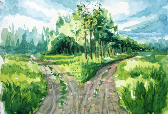 Village road water color painting