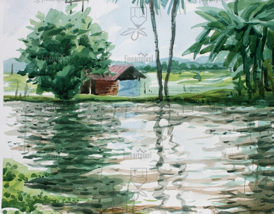Water front village house painting water color