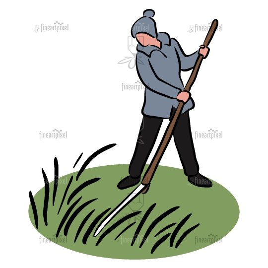 Woman working with scythe clip art.