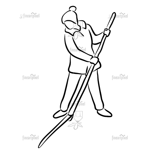 Woman working with scythe line art.