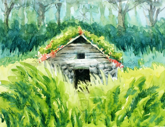Wooden house in the forest water color painting