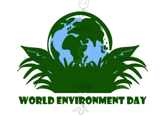 World environment day  illustration Earth and grass