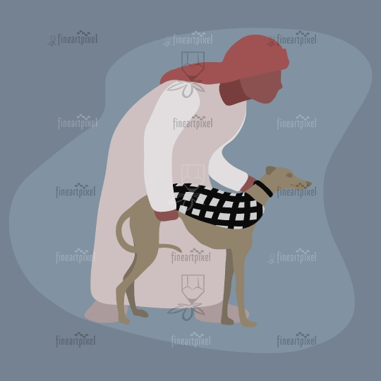 Young Arabian man with his race dog Illustration.