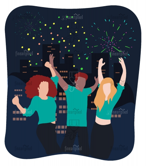 Young people Celebrating Night Party-Illustration.