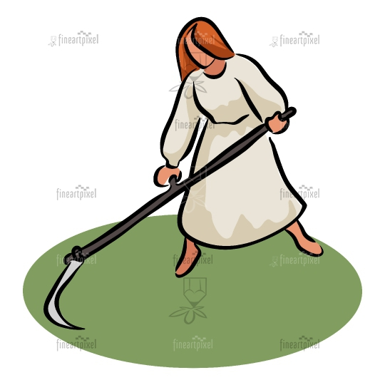 Young woman with scythe Clip art.