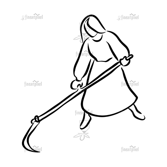 Young woman with scythe line art.